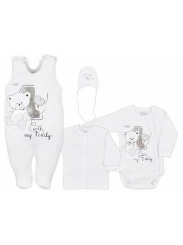 4-dielná dojčenská súprava v Eko krabičke Bobas Fashion Teddy biela