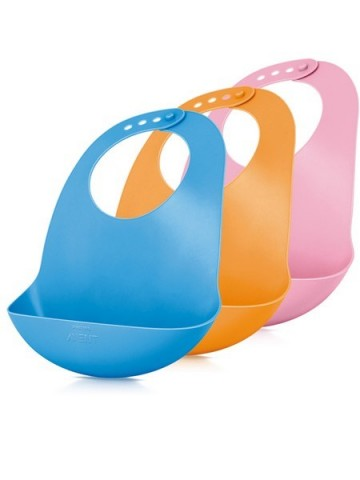 Detský plastový podbradník Avent oranžový 6m+