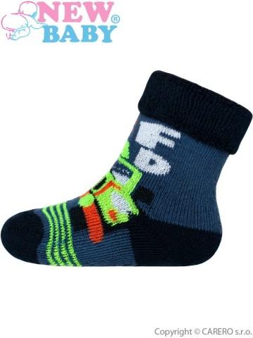 Dětské froté ponožky New Baby modré off road