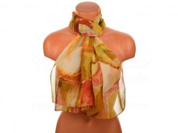 Letní šátek - abstraktní, 165x50cm - žlutý