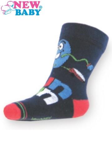 Detské bavlnené ponožky New Baby tmavo modré fun run