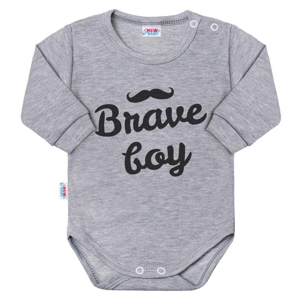 Dojčenské body s dlhým rukávom New Baby Brave boy sivé