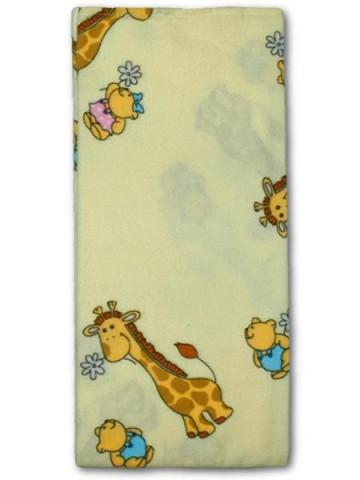 Flanelová plena s potiskem New Baby béžová s žirafkou