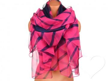 Eșarfă pentru femei cu dungi - roz aprins