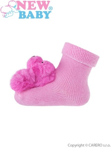 Dojčenské ponožky s hrkálkou New Baby ružové