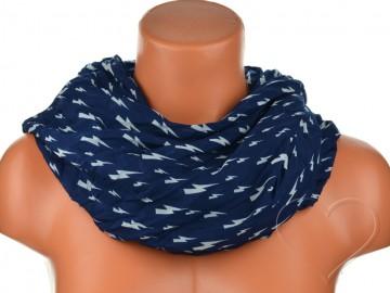 Dámský tunelový šátek s blesky - tmavě modrý