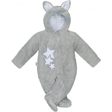 Zimní dětská kombinéza New Baby Ušáček šedá