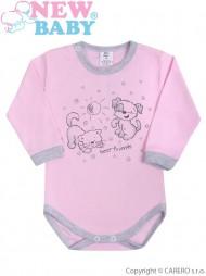 Kojenecké body s dlouhým rukávem New Baby Kamarádi růžové