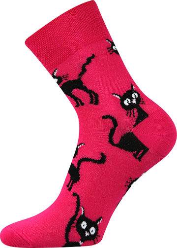Ponožky - kočka magenta - velikost 39-42