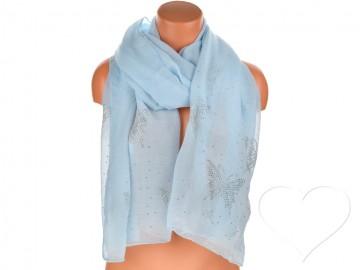 Eșarfă pentru femei de o culoare din bumbac cu pietricele - albastru