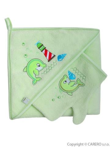 Detská osuška s žinkou Bobas Fashion Delfín zelená