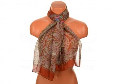 Letní šátek s motivem orientálních květin, 165x50cm - hnědý