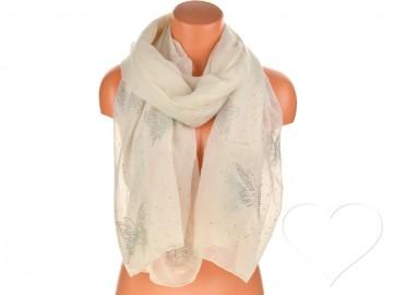 Dámský jednobarevný bavlněný šátek s kamínky - krémový