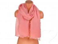 Női egyszínű pamut sál gyöngyökkel - rózsaszín