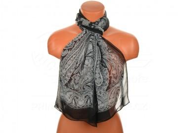 Letní šátek s motivem orientálních květin, 165x50cm - černobílý