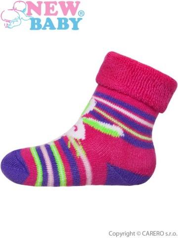 Dětské froté ponožky New Baby růžovo-fialové s zajíčkem