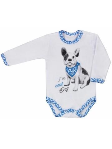 Dojčenské body s dlhým rukávom Koala Cool Dog bielo-modré