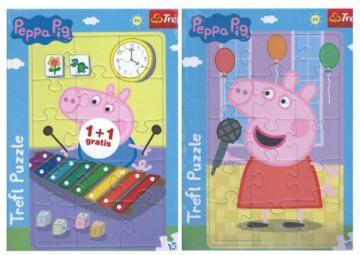 Puzzle Prasátko Peppa a Tomík 2v1