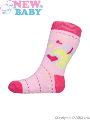 Dojčenské ponožky New Baby s ABS ružové s jabĺčkom