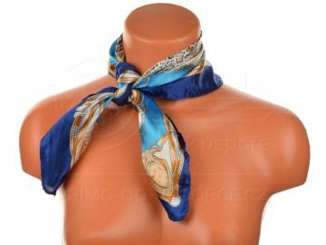 Malý šátek s koňáckým motivem, 55x55cm - modrý