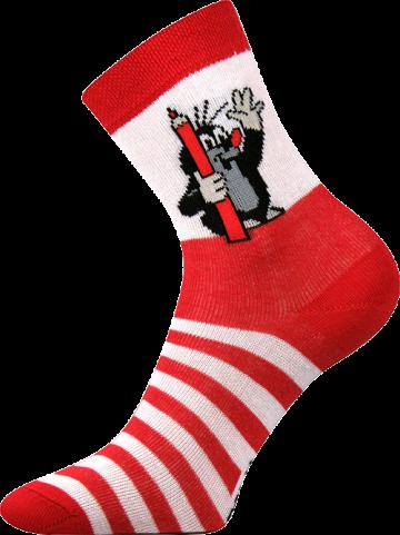 Ponožky - krteček - červená velikost 20-24