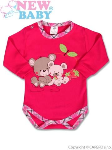 Dětské body s dlouhým rukávem New Baby Myšky s jahůdkou