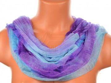 Šátek tunel batika - modrofialový