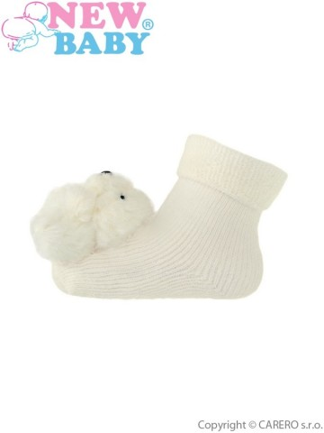 Dojčenské ponožky s hrkálkou New Baby bežové