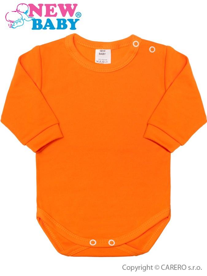 Dojčenské body s dlhým rukávom New Baby oranžové
