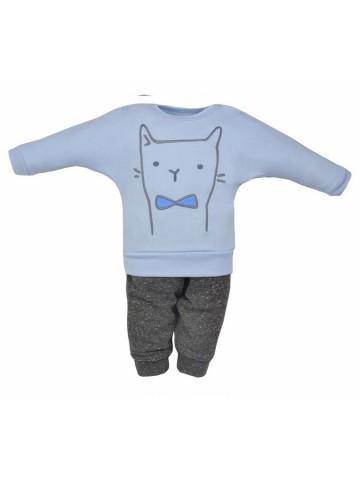 2-dielna detská súpravička Koala Robin mačička modro-sivá