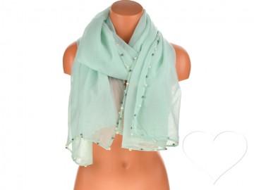 Dámský jednobarevný bavlněný šátek s perlami - zelený