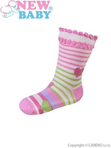 Dojčenské bavlnené ponožky New Baby ružovo-zelené s pruhmi
