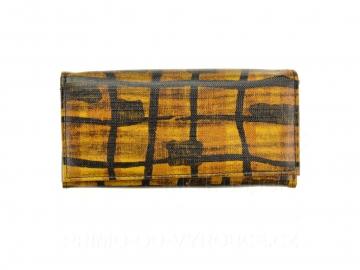 Dámská peněženka vzor mříže - žlutá, vzorovaná [6954]