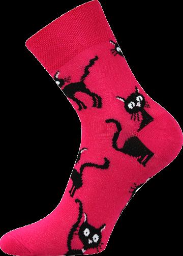 Ponožky - kočka magenta - velikost 35-38