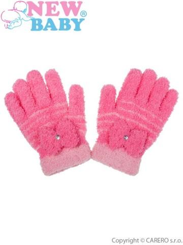Dětské zimní froté rukavičky New Baby růžové