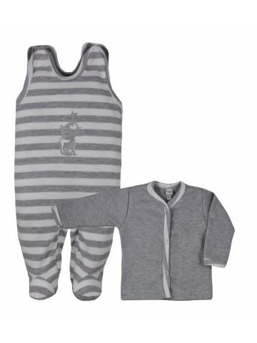 2-dielna bavlnená dojčenská súpravička Bobas Fashion Strieborná Mačka s pruhmi sivá
