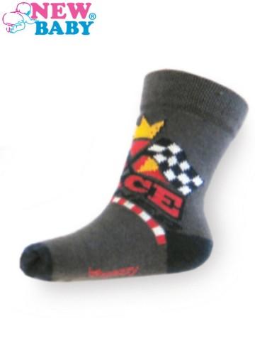 Detské bavlnené ponožky New Baby tmavosivé race winner