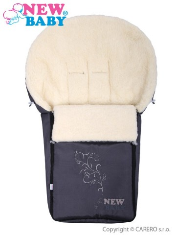 Luxusný fusak s ovčím rúnom New Baby sivý