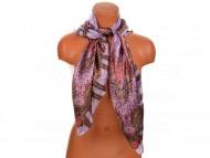 Velký šátek s motivem kvítečků, 90x90cm - fialový