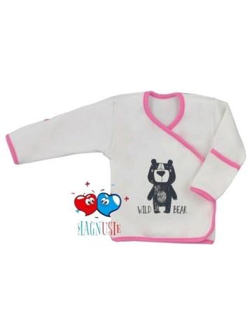 Kojenecká košilka Koala Magnetky Wild Bear bílo-růžová