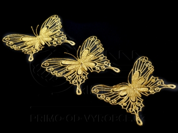 Dekorační motýl 3ks zlatý