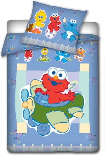Povlečení do postýlky Sesame Street modrá 100/135 cm
