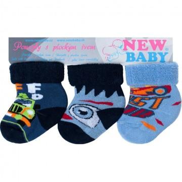 Kojenecké froté ponožky New Baby barevné - 3ks