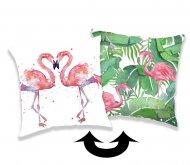 JERRY FABRICS Měnící povlak na polštářek s flitry Plameňák Polyester, 40/40 cm