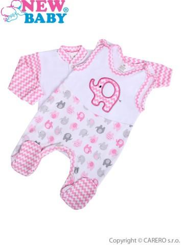 2-dielna súpravička New Baby Sloník bielo-ružová
