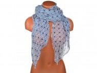 Letní šátek s motivem květů, 170x75cm - modrobílý