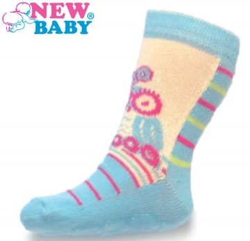 Detské ponožky New Baby s ABS modro-bežové so sovou