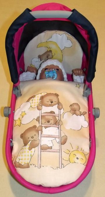Peřinky do kočárku pro panenky Medvídci na žebříku krémová