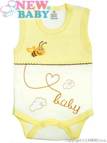 Dojčenské body bez rukávov New Baby Clouds žlté
