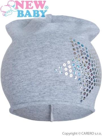 Jarní čepička New Baby hvězdička šedá